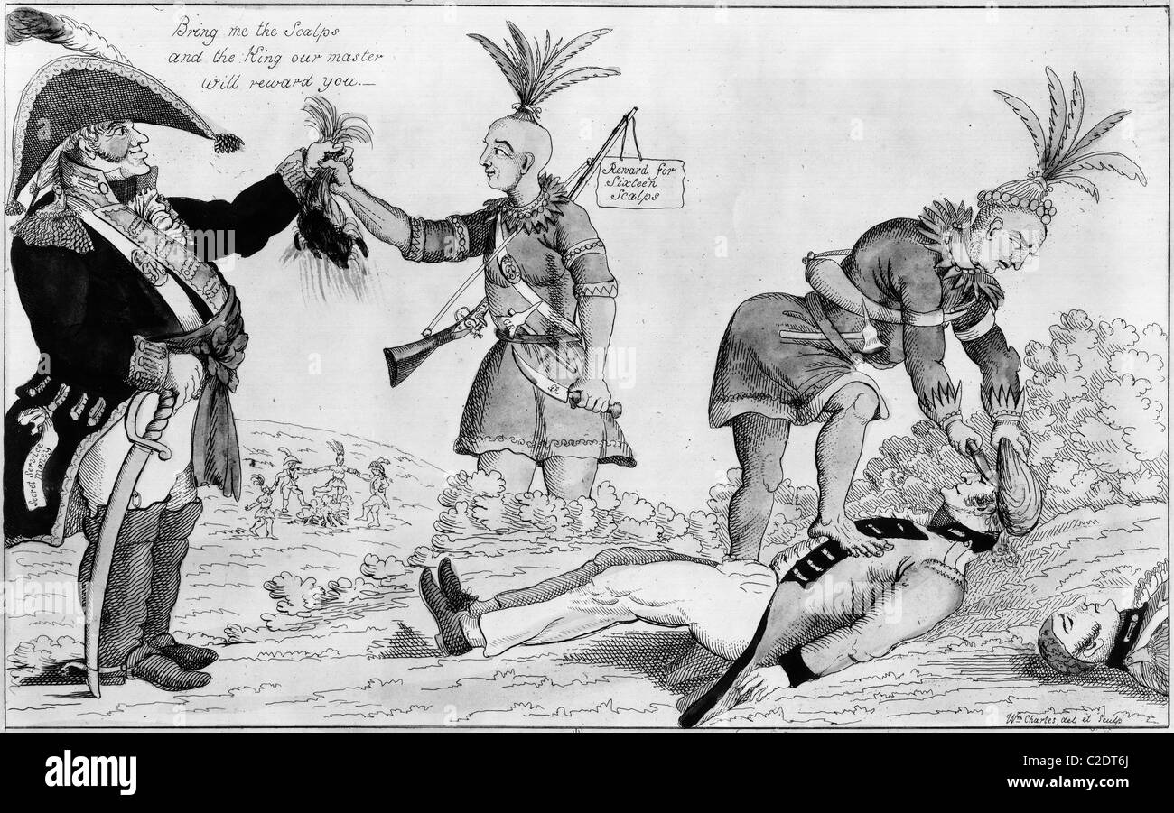 Cartoon on the British and Native American allies - Stock Image