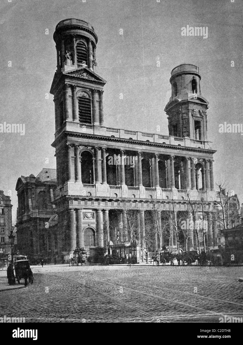 One of the first autotype prints, Eglise Saint-Sulpice Church, historic photograph, 1884, Paris, France, Europe Stock Photo