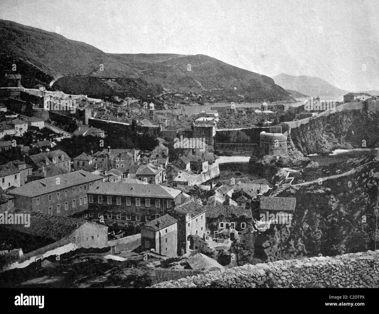 One of the first autotype prints, historic photograph, 1884, view of Ragusa, Austria, Europe - Stock Image