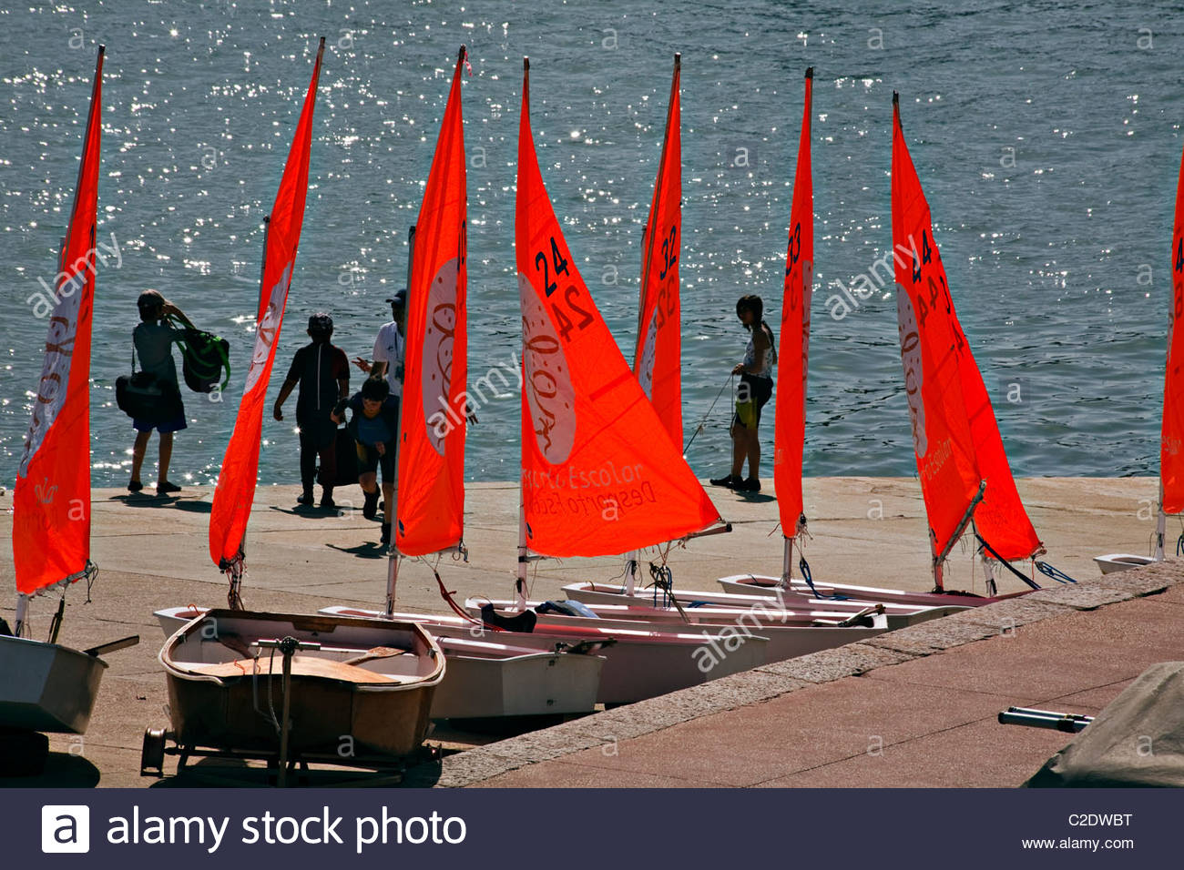 Optimist sailing boats, Cascais, Portugal - Stock Image