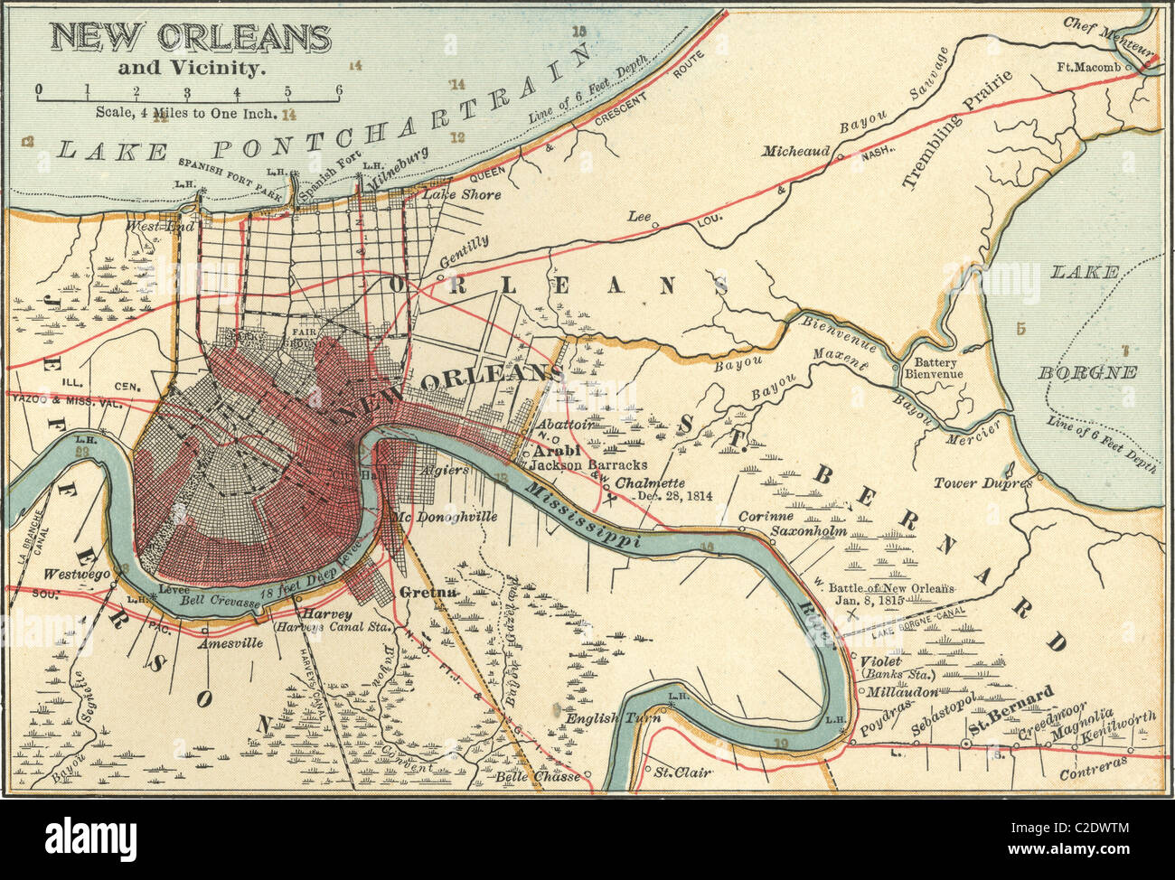 Map Of New Orleans Stock Photo 35955716 Alamy