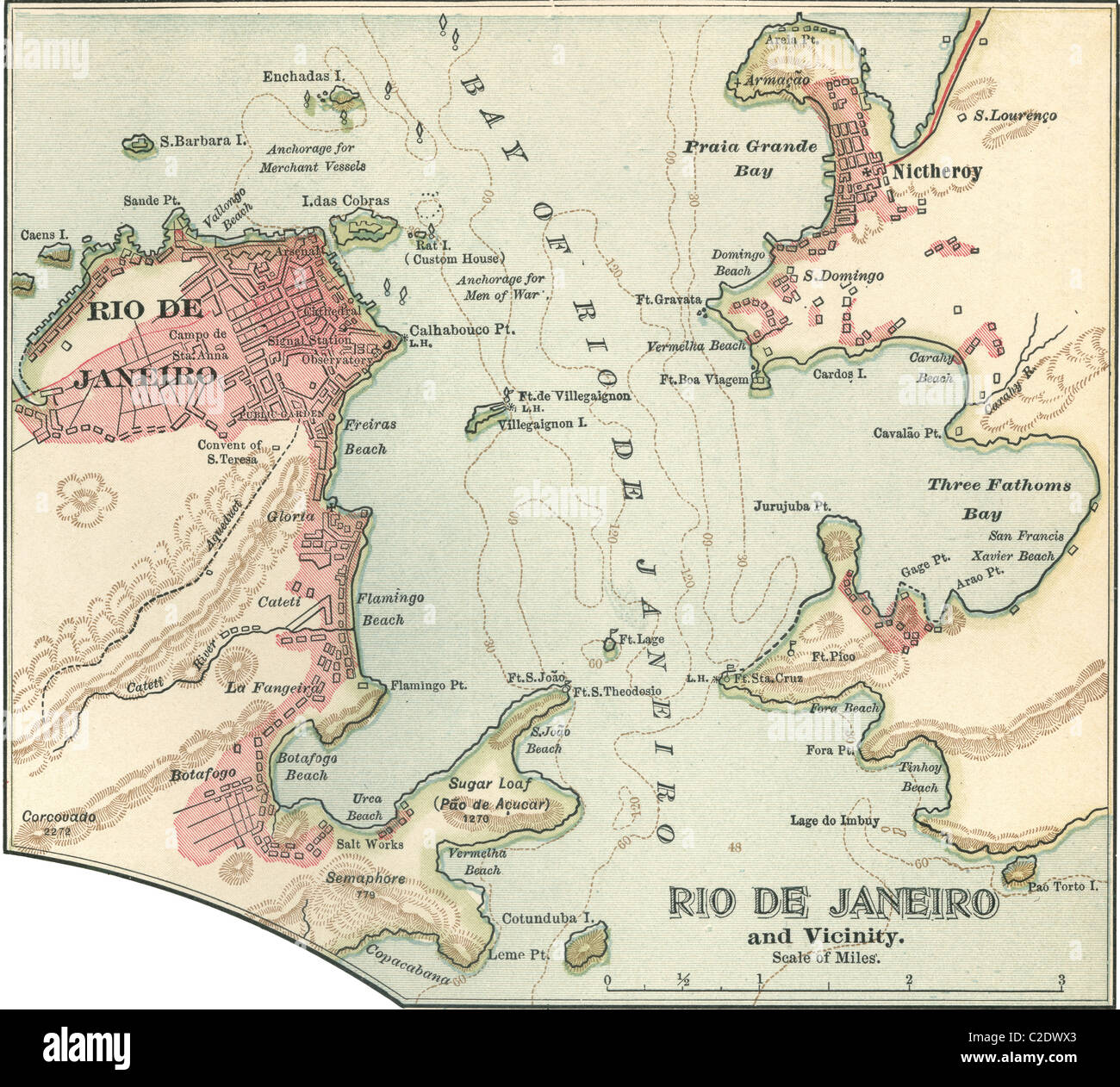 Rio De Janeiro Karte.Map Of Rio De Janeiro Stock Photo 35955755 Alamy