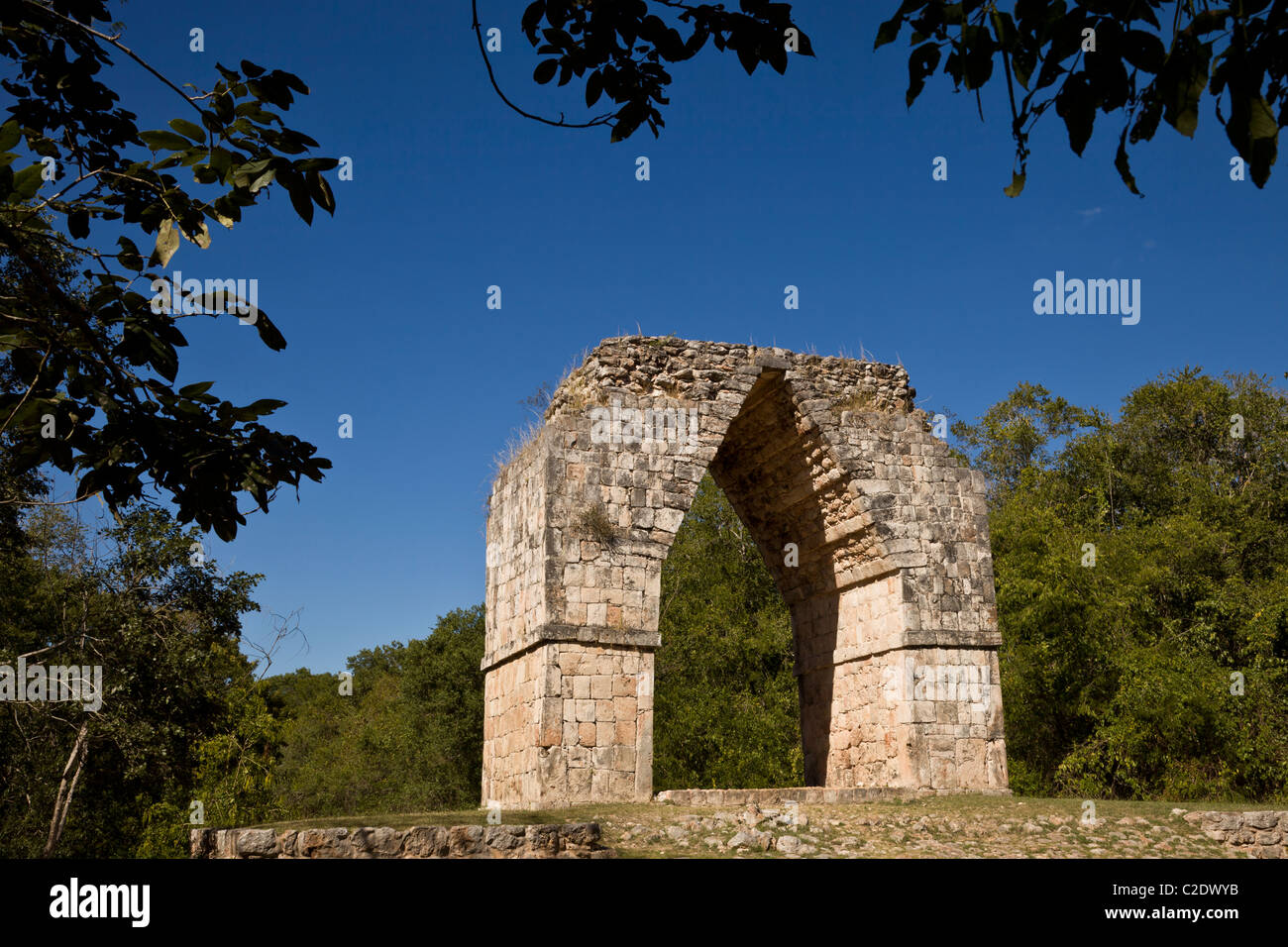 Monumental arch at the Puuc style Maya ruins of Kabah along the Puuc Route in the Yucatan Peninsula, Mexico. Stock Photo