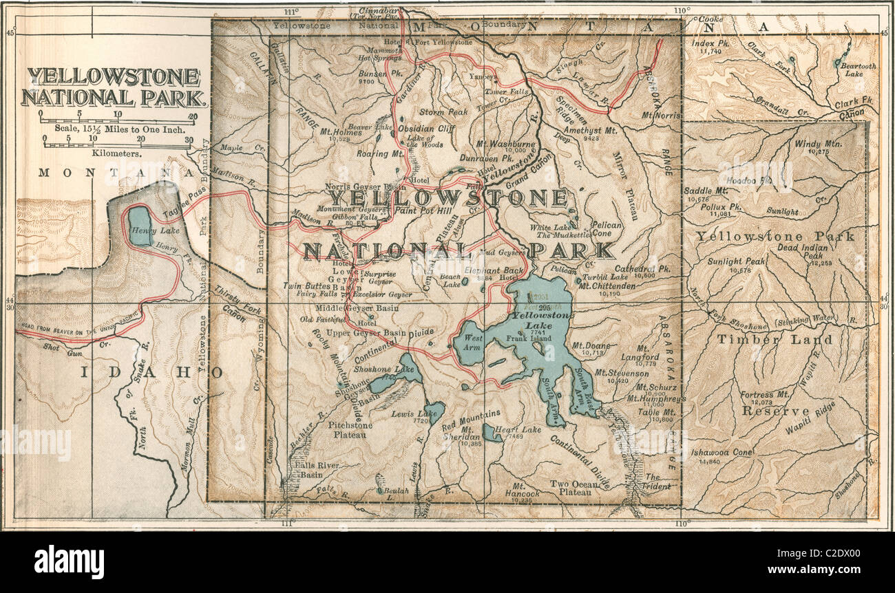 Map of Yellowstone National Park Stock Photo: 35955808 - Alamy