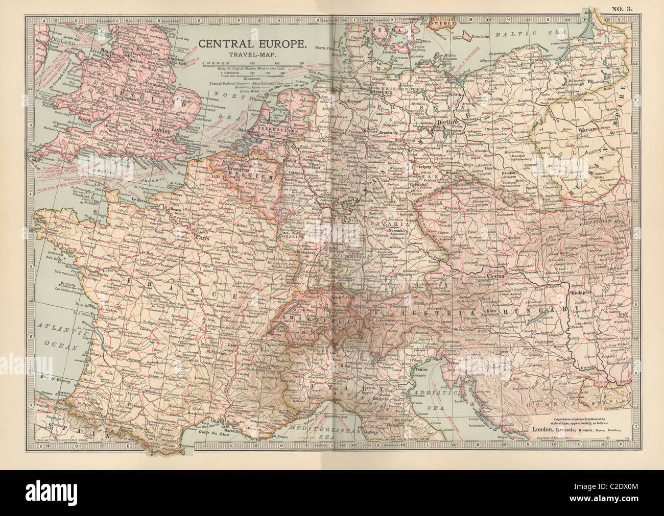Map of Central Europe - Stock Image