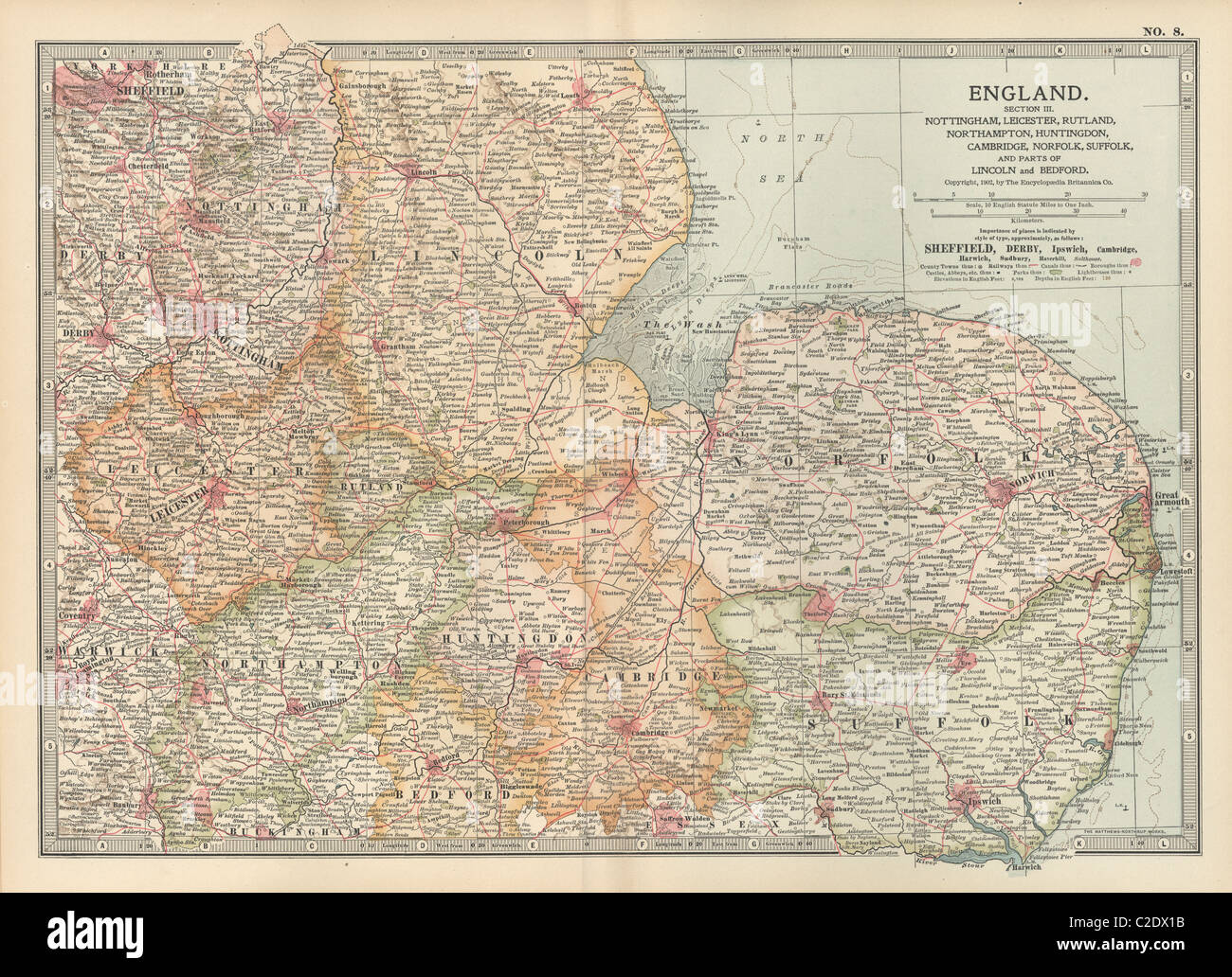 Map of England - Stock Image