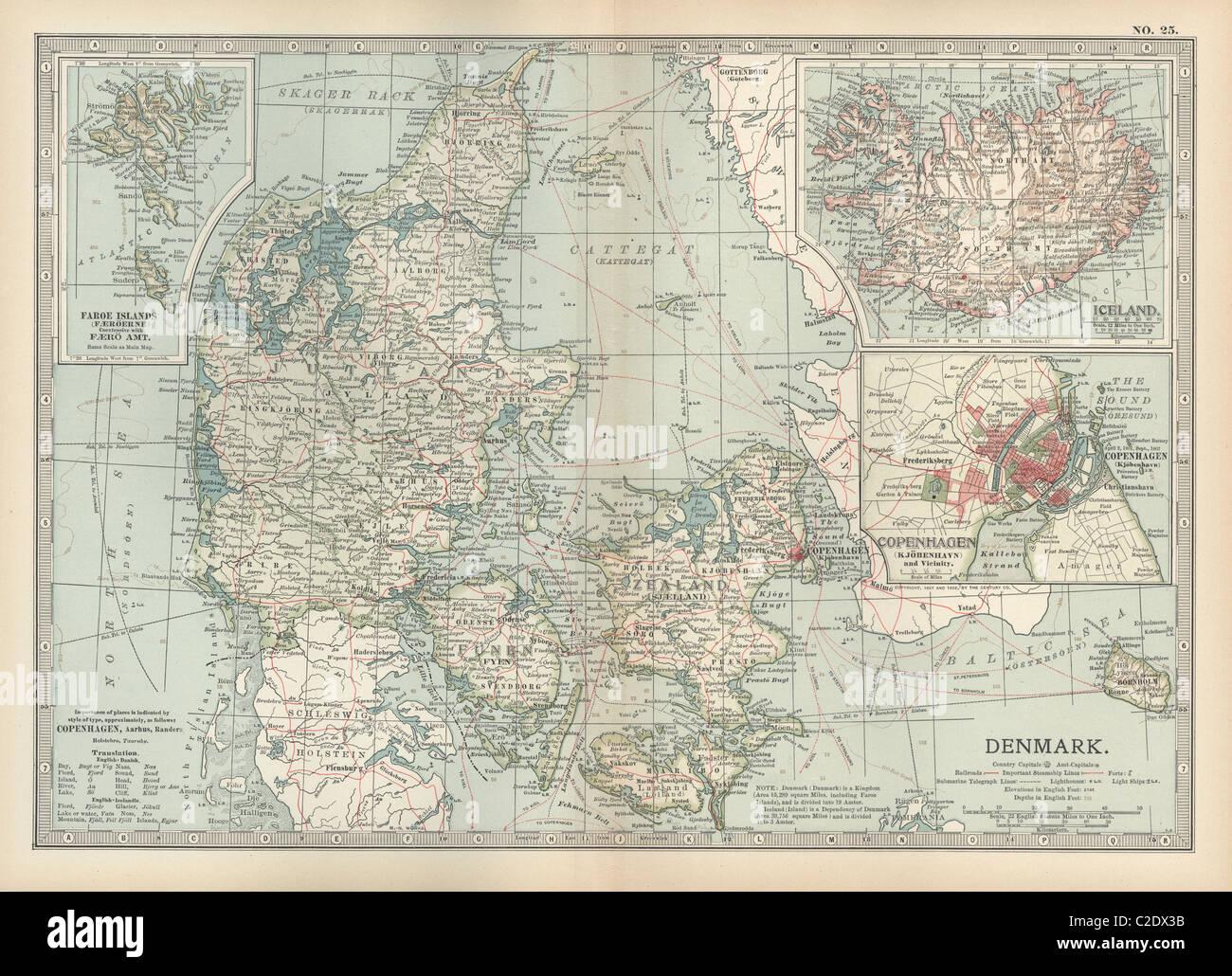 Map of Denmark - Stock Image