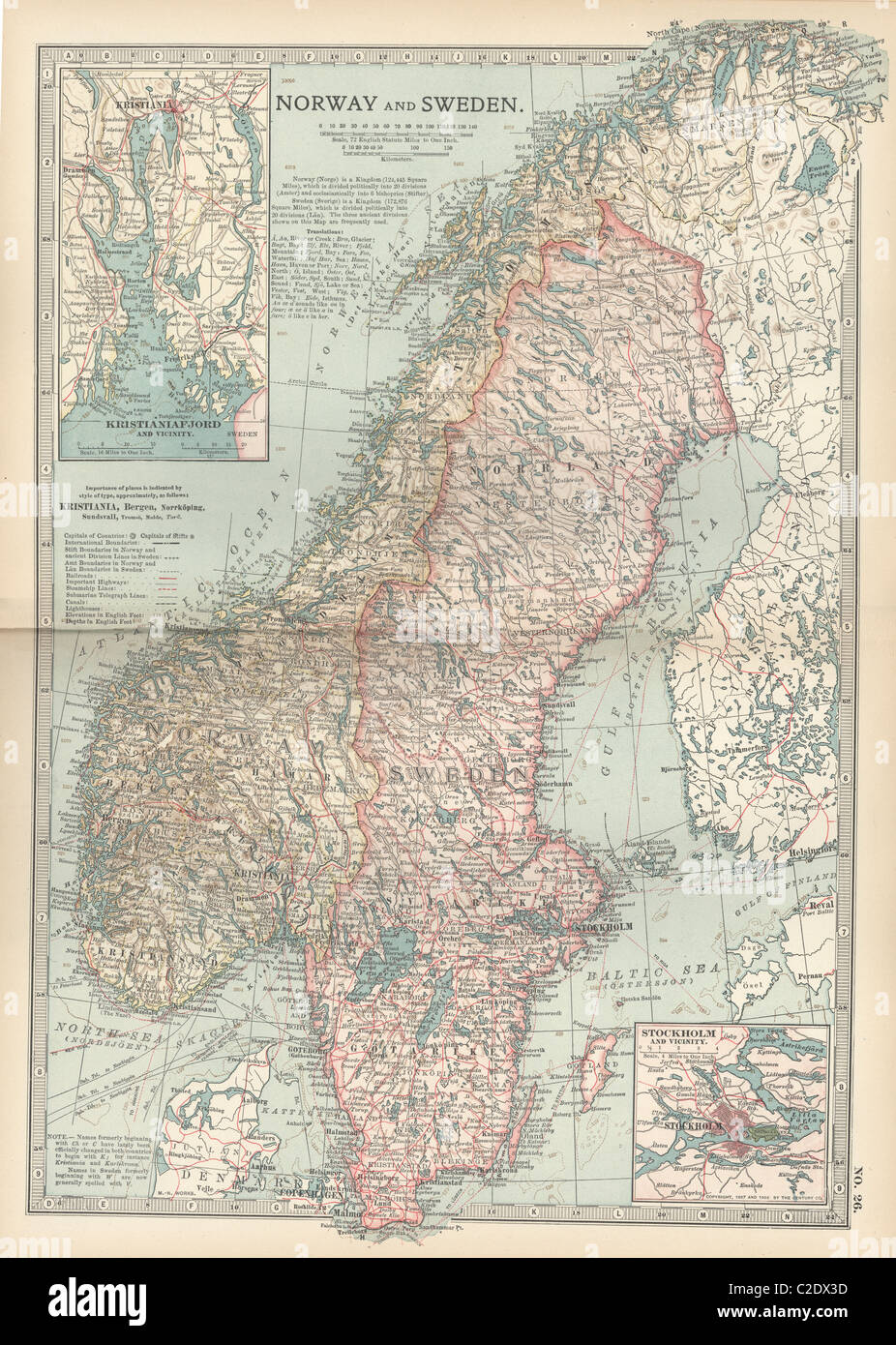 Map of Norway and Sweden - Stock Image