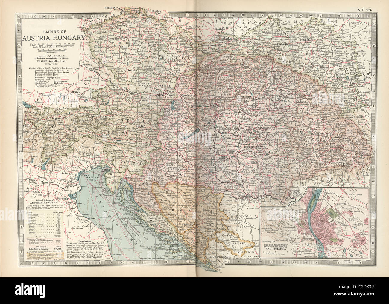 Map of the Empire of Austria-Hungary - Stock Image