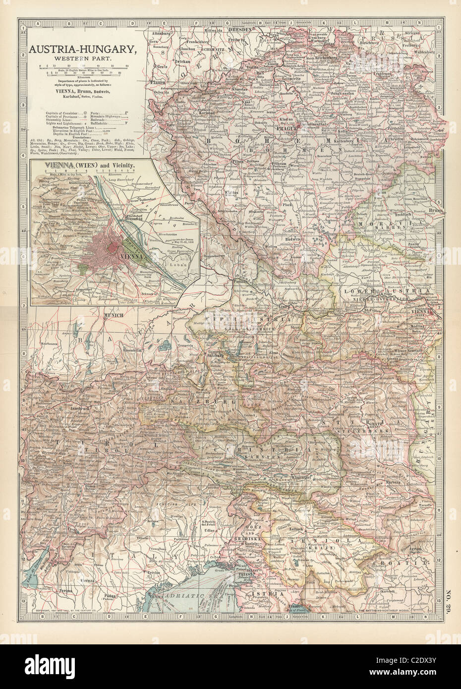Map of Austria with Vienna - Stock Image