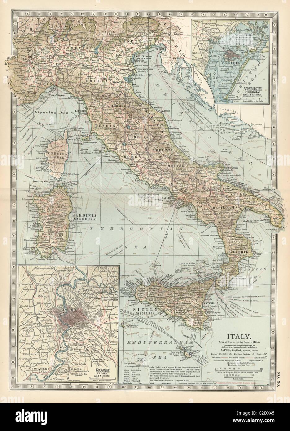 Italy Map 19th Century Stock Photos Italy Map 19th Century