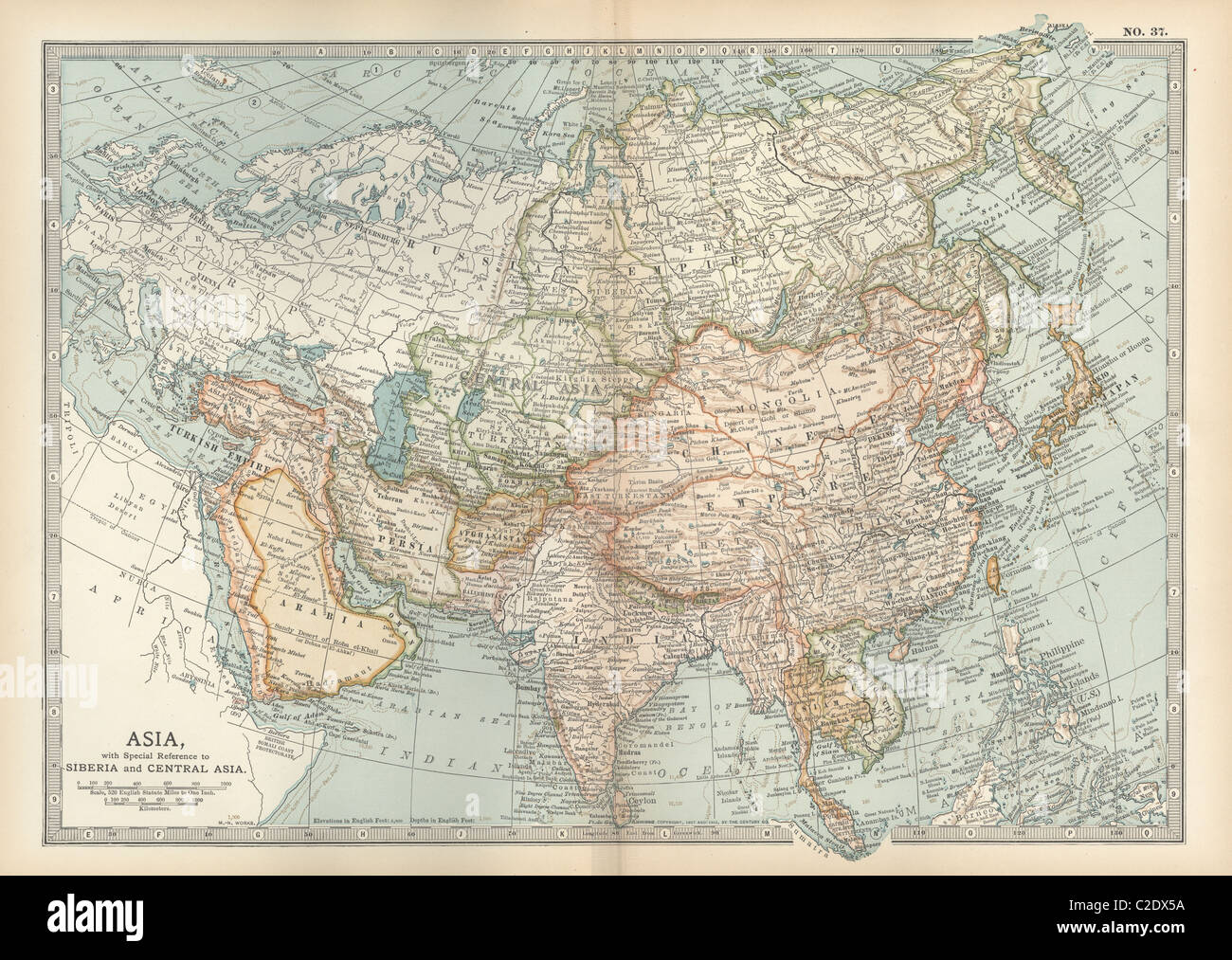 Map of Asia with Siberia and Central Asia - Stock Image