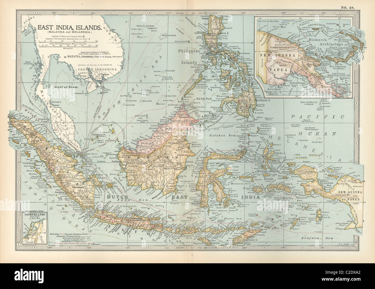 Map of East India Islands with New Guinea - Stock Image