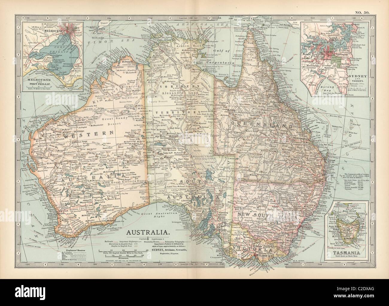 Map Of Australia And Tasmania.Map Of Australia And Tasmania Stock Photo 35956104 Alamy