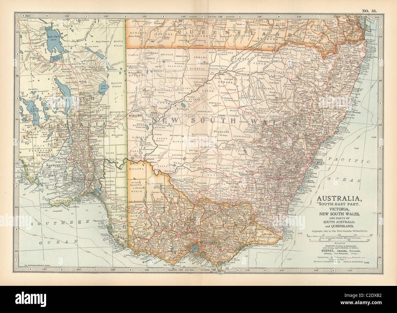 Map of southeast Australia - Stock Image