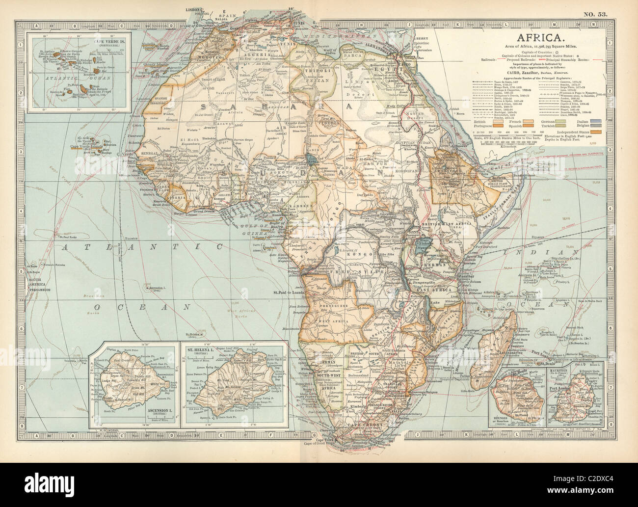 Map of colonial Africa - Stock Image