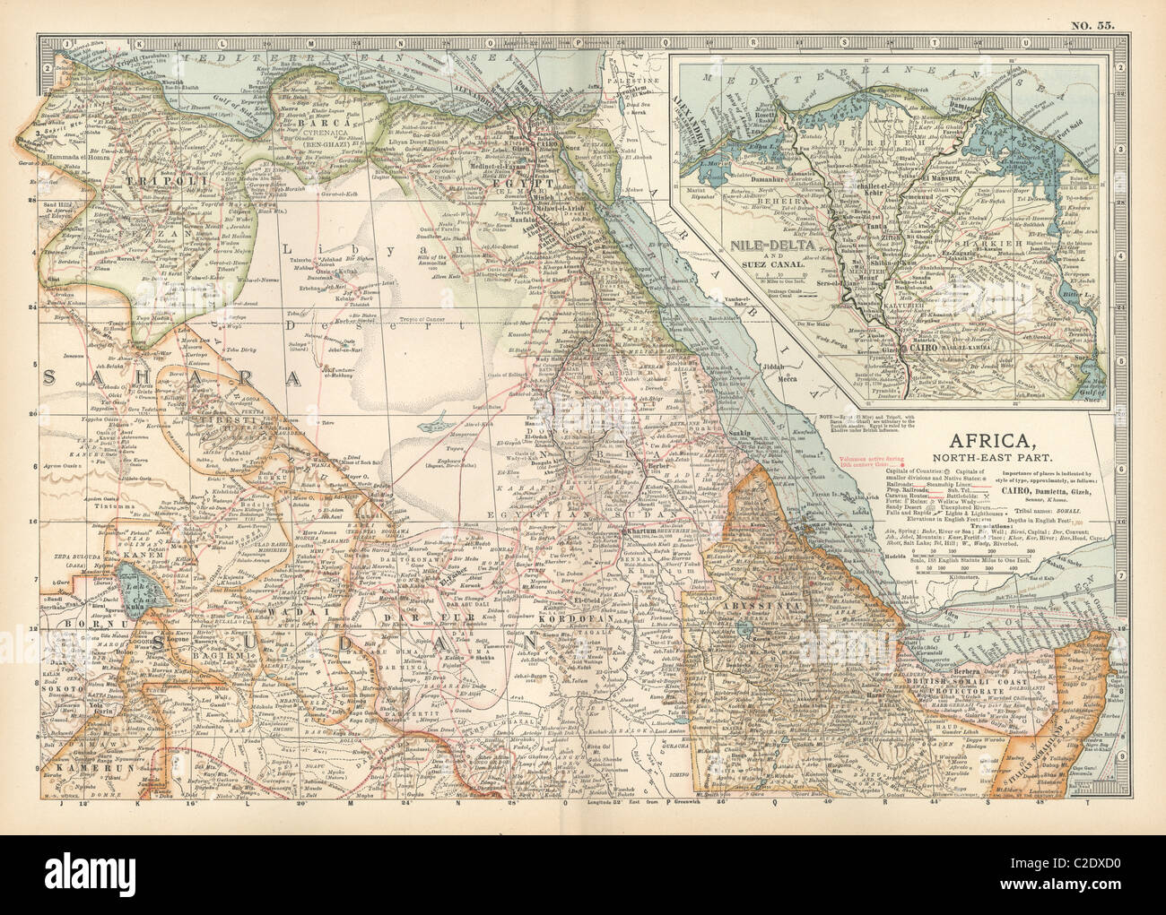 Map of northeastern Africa - Stock Image