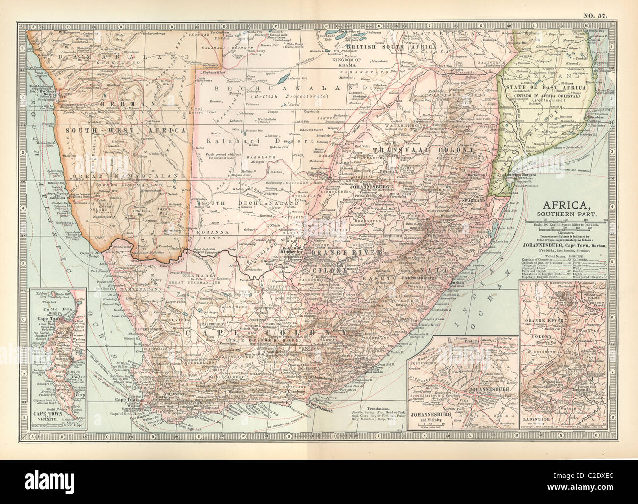 Map of Southern Africa - Stock Image