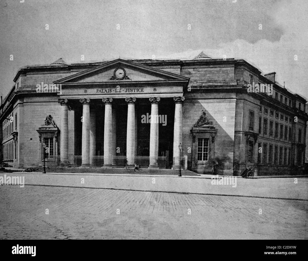One of the first autotypes of the Palais de Justice in Caen, France, historical photograph, 1884 - Stock Image