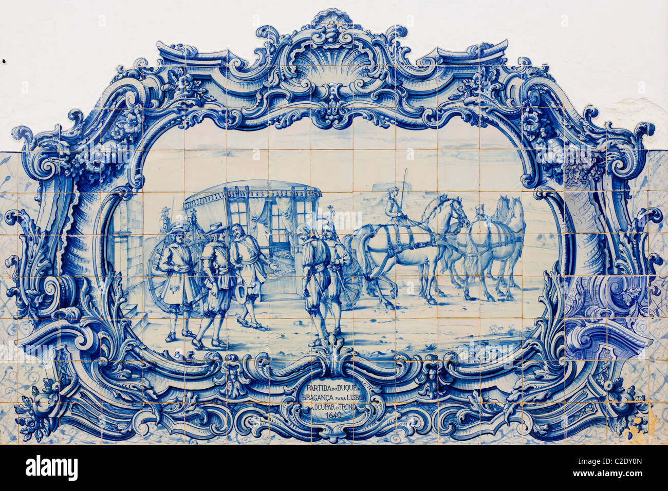 Duke of Bragança history depicted in tiles (azulejos) at Marble Museum, Vila Viçosa, Portugal - Stock Image