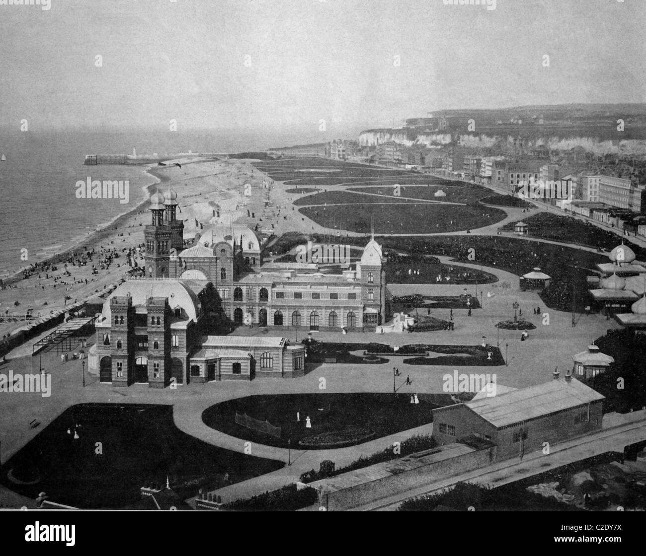 One of the first autotypes of the beach and casino in Dieppe, France, historical photograph, 1884 Stock Photo