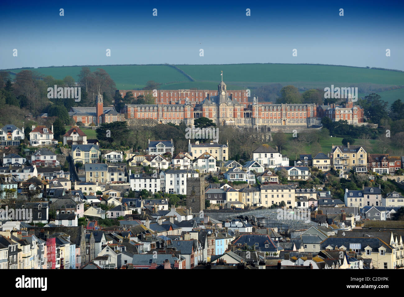 Dartmouth Devon Uk with Dartmouth Naval College at top Stock Photo