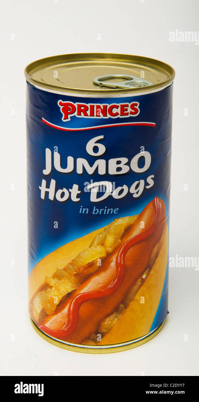 Jumbo Hot Dogs can - Stock Image