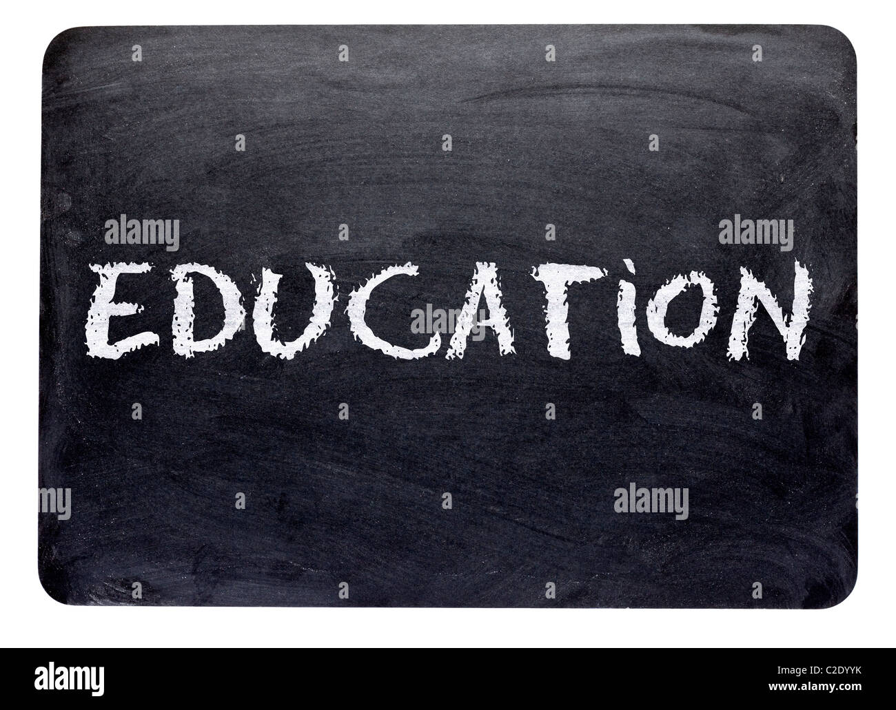 Word Education, written on a blackboard in chalk, close up - education, learning concept - Stock Image