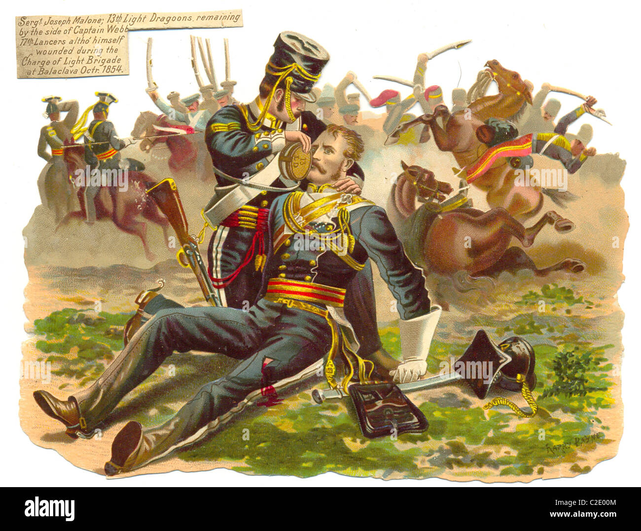 die cut scrap showing Sergeant Joseph Malone at the Charge of the Light Brigade, Balaclava - Stock Image