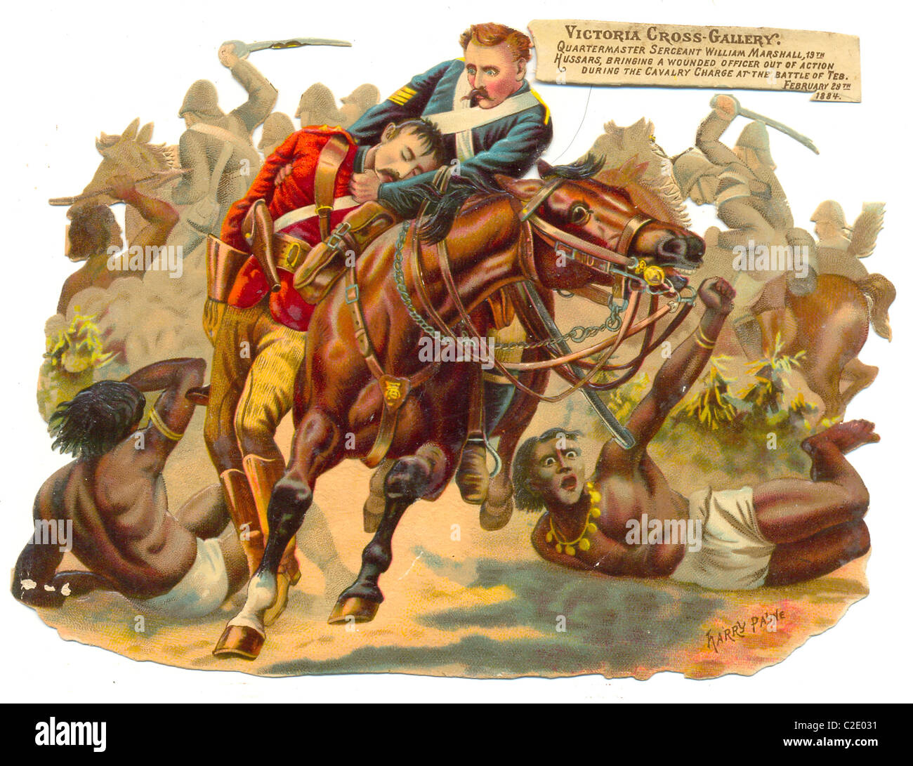 die cut scrap of 1885 showing a scene from the Battle of El Teb, Sudan, - Stock Image