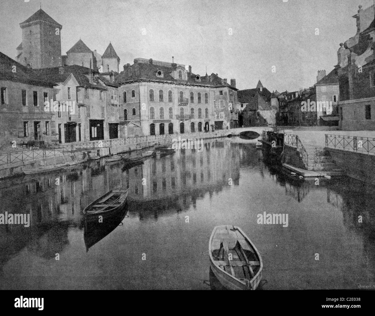 One of the first autotypes of Annecy, France, historical photograph, 1884 - Stock Image