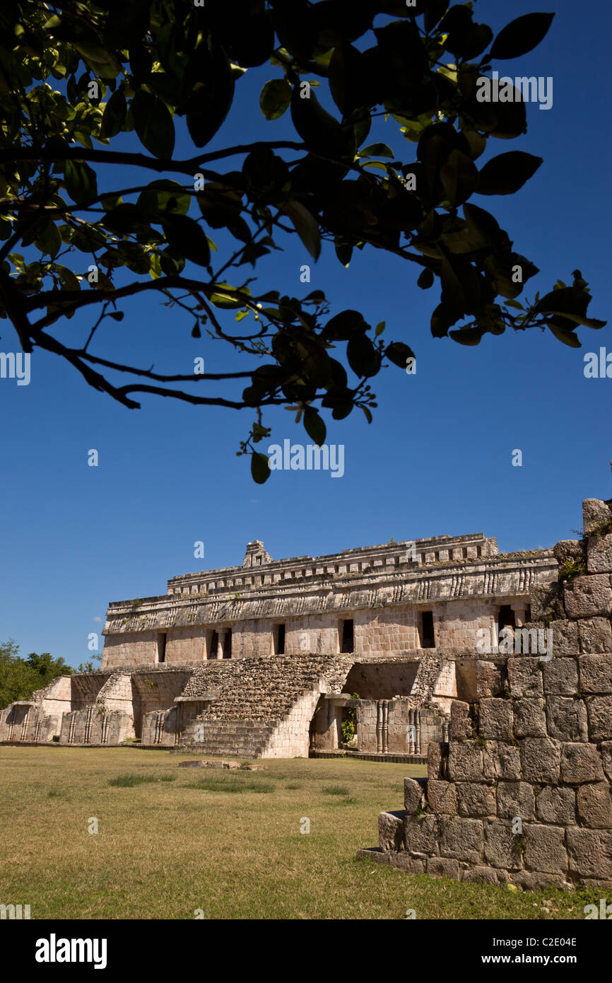 El Palacio or The Palace at the Maya ruins of Kabah along the Puuc Route in the Yucatan Peninsula, Mexico. - Stock Image