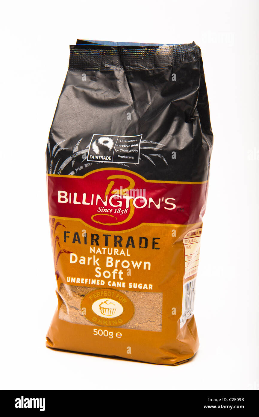 Fairtrade 'fair trade' dark brown sugar unrefined - Stock Image