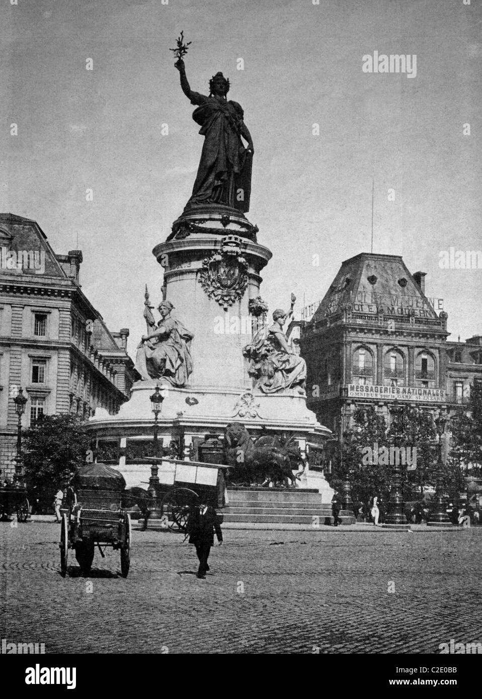 One of the first autotypes of Place de la République, Paris, historical photograph, 1884 - Stock Image