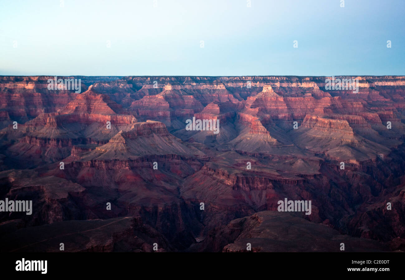 USA, Arizona, sunset on the south rim of the Grand Canion seen from the Mother Point Stock Photo