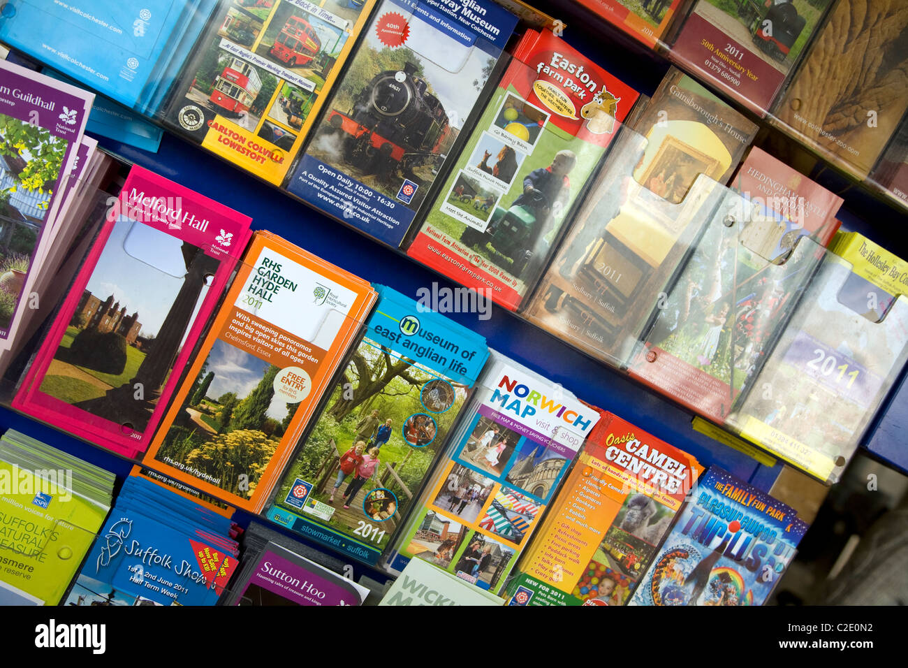 Tourist attraction brochures rack Suffolk East Anglia - Stock Image