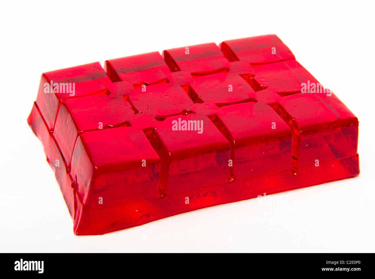 red raspberry jelly cubes - Stock Image