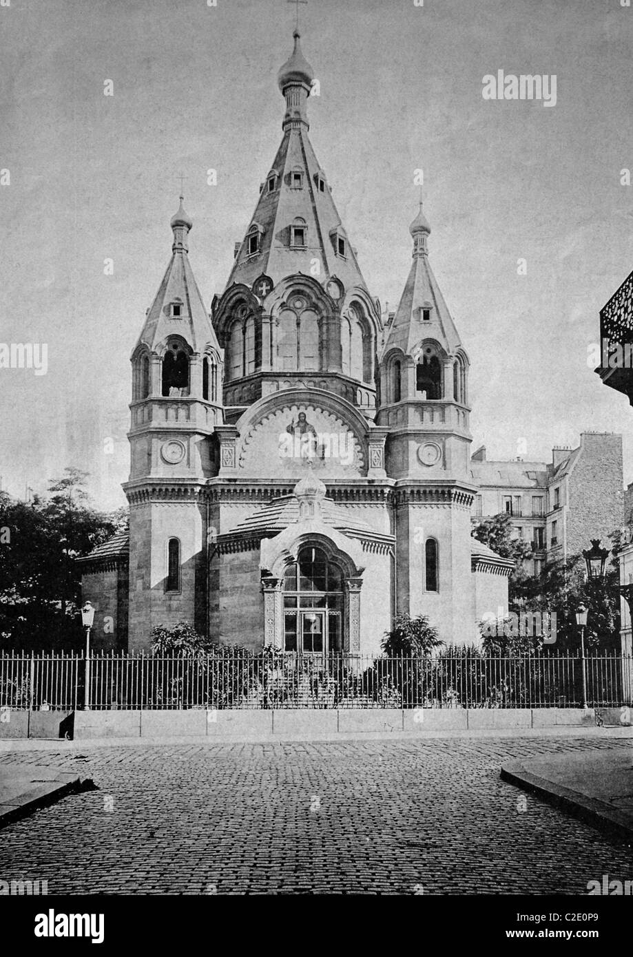 One of the first autotypes of the Eglise Russe, Russian Church, Paris, historical photograph, 1884 Stock Photo