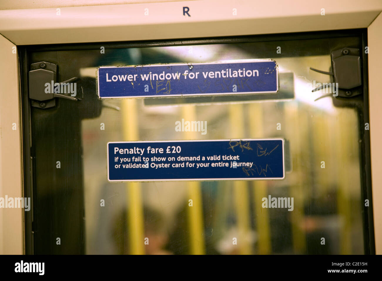 Lower window for ventilation penalty fare £20 - Stock Image