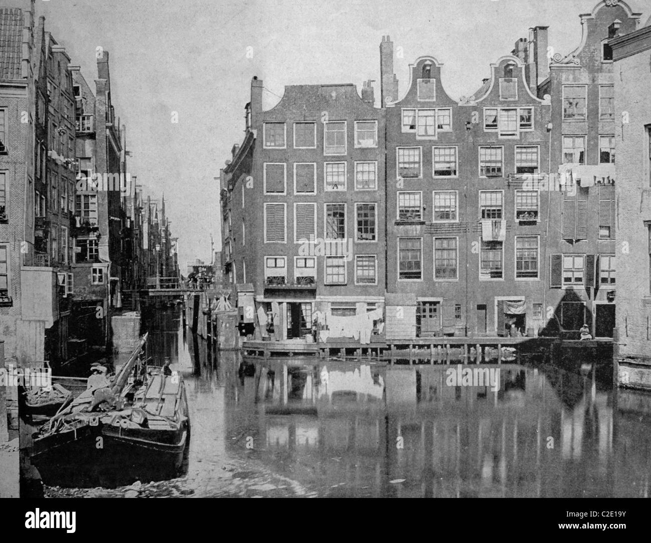 Early autotype of Amsterdam, North Holland, Netherlands, historical picture, 1884 - Stock Image
