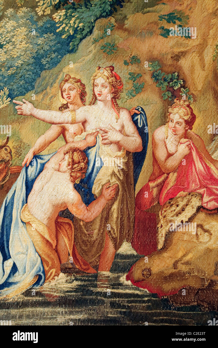 Detail: Diana and Actaeon from a set of Ovid's Metamorphoses, designed before 1680, woven late 17th–early 18th - Stock Image