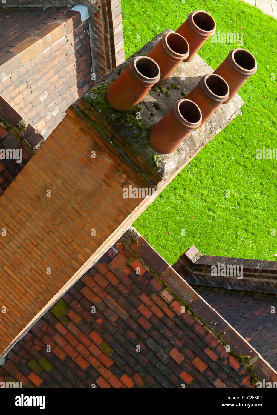 Brick Chimney Roof Tiles Stock Photos & Brick Chimney Roof ...