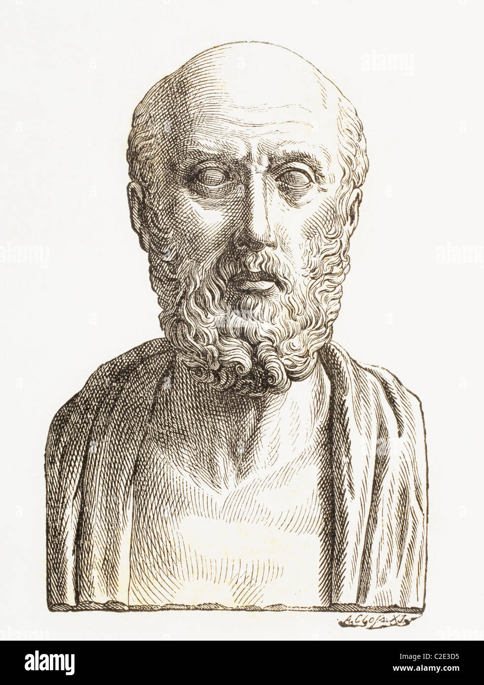 Hippocrates of Cos or Hippokrates of Kos, c. 460 BC to c. 370 BC. Ancient Greek physician of the Age of Pericles. - Stock Image