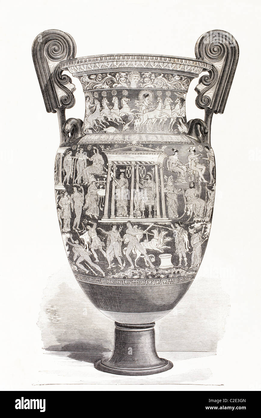 Richly decorated Greek vase. - Stock Image