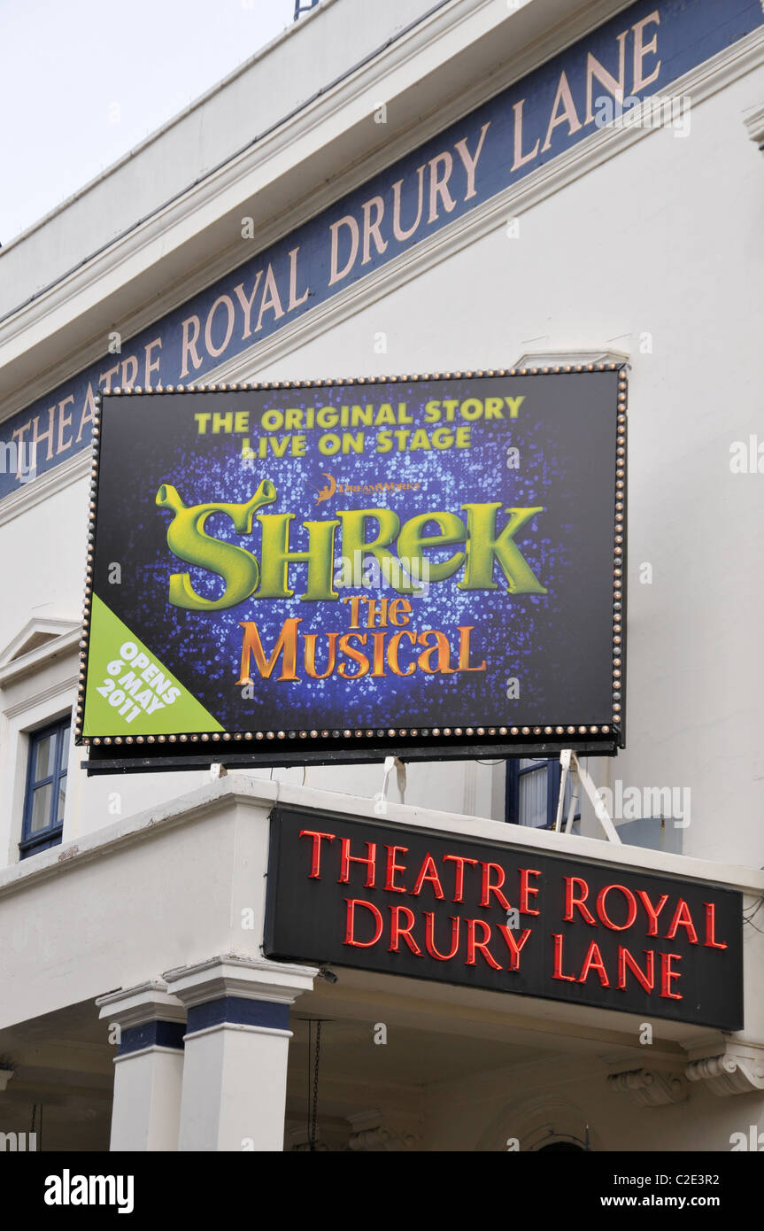 Shrek The Musical Theatre Royal Drury Lane London cartoon character musical theater live on stage adaption children - Stock Image