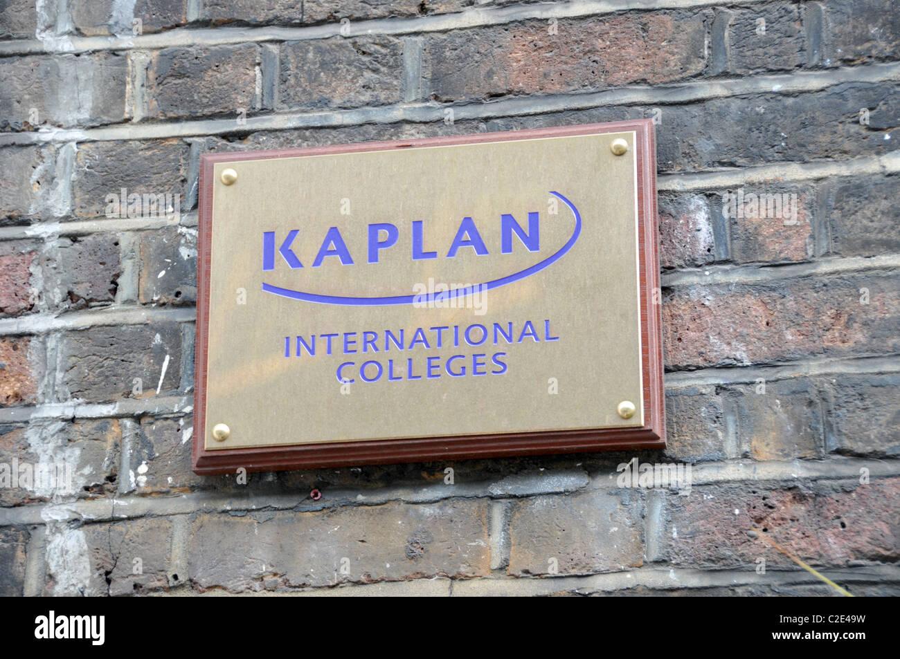 Kaplan International Colleges plaque Private Language college English - Stock Image