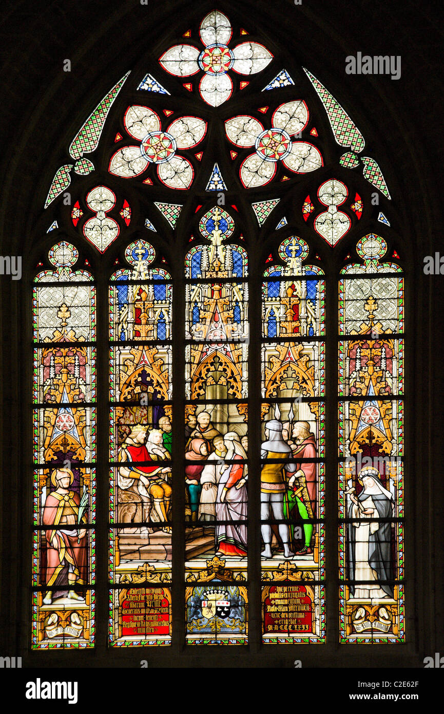 Stained glass window in the Cathedral, Brussels, Belgium - Stock Image