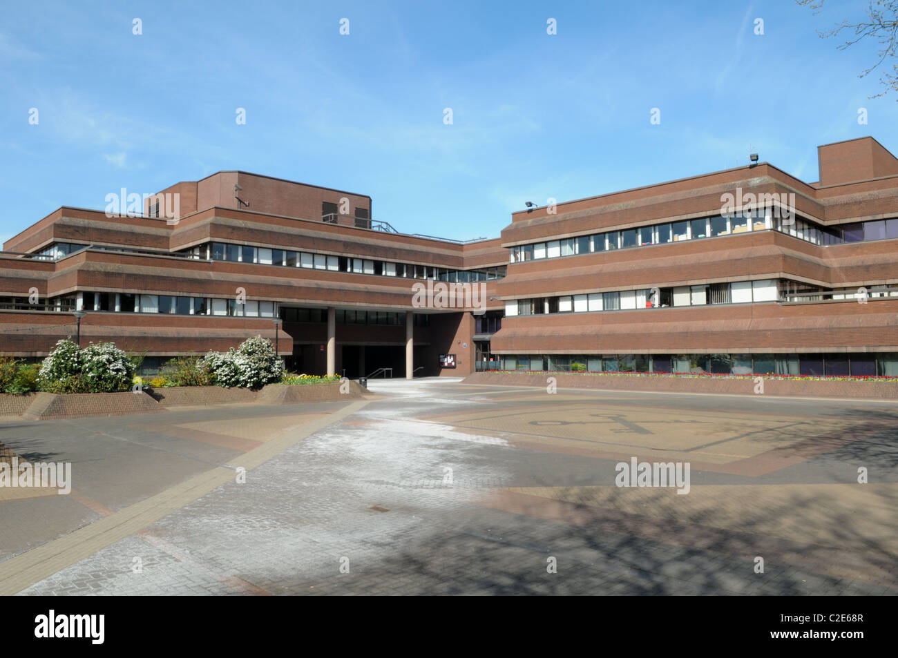 Wolverhampton City Council Civic Centre from St Peter's square an ugly brick-built local authority building - Stock Image