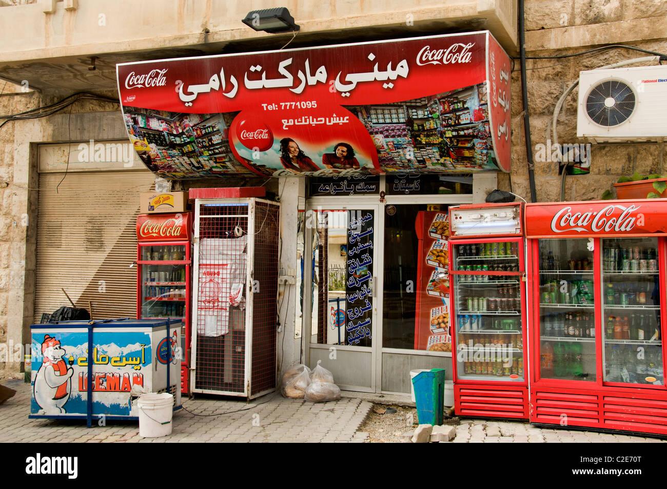 Maalula coca cola fast food Syria town Syrian Bar - Stock Image