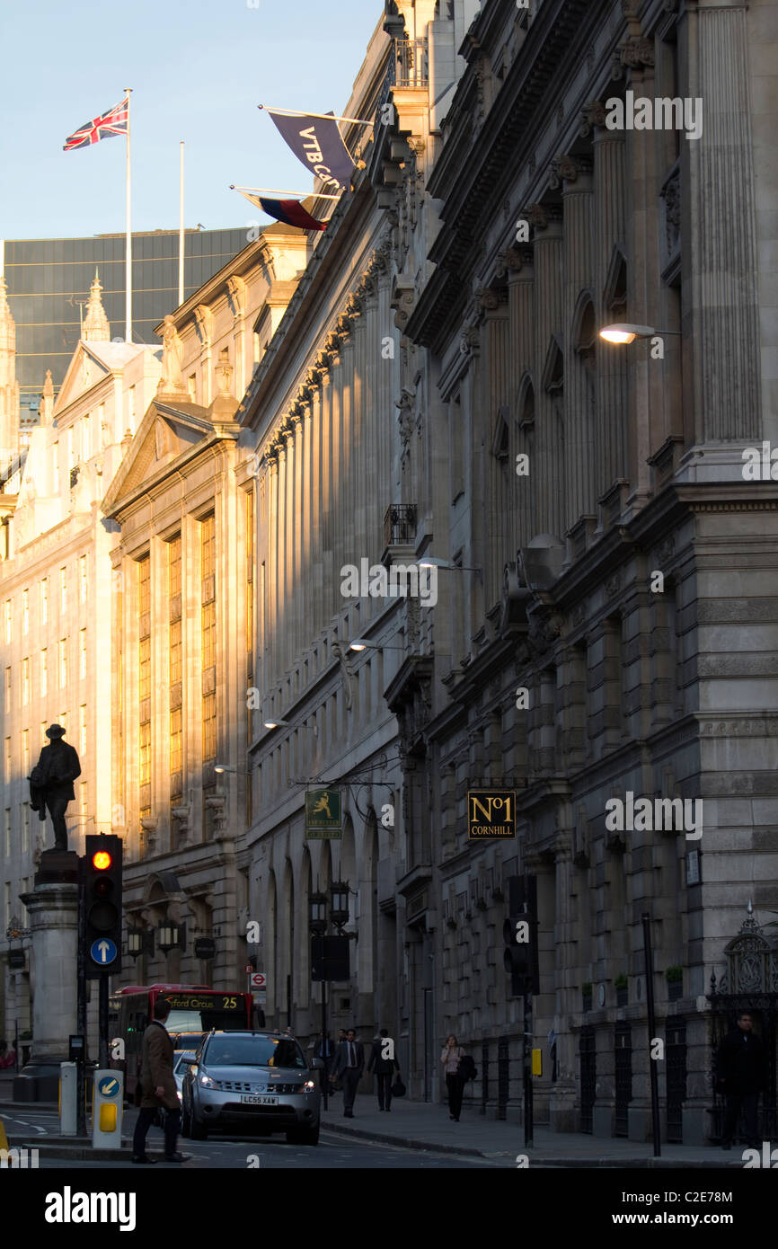 Cornhill in the financial district of London - Stock Image
